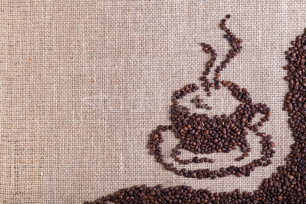 Café toile de jute sac espace de copie tasse modèle Photo stock © lightkeeper