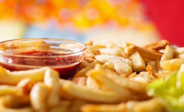 Patatine fritte ketchup primo piano ciotola macro Foto d'archivio © lightkeeper