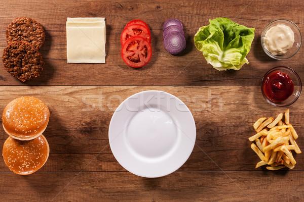 Ингредиенты построить идеальный гамбургер Top мнение Сток-фото © lightkeeper