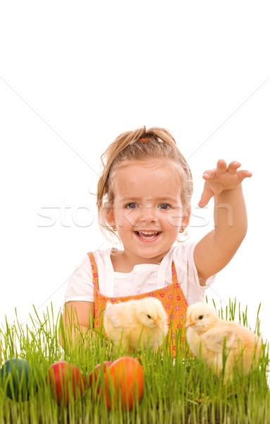 Foto stock: Feliz · risonho · little · girl · primavera · garotas · ovos · de · páscoa