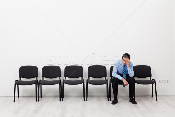 Umutsuz işadamı işçi oturma tek başına üzücü Stok fotoğraf © lightkeeper