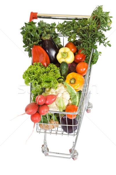 Shopping cart with vegetables - top view, isolated Stock photo © lightkeeper