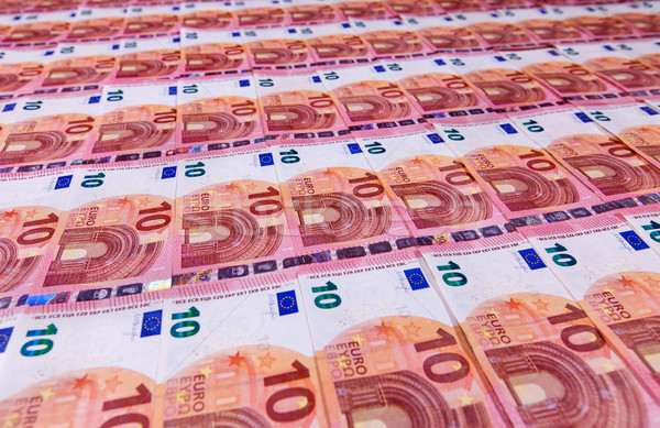 Small ten euro bills layer in low angle perspective Stock photo © lightkeeper