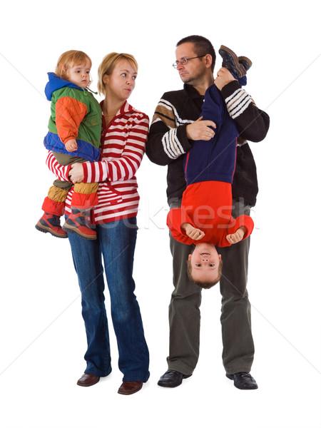 Chaos dzieci przypadkowy młodych rodziny dwa Zdjęcia stock © lightkeeper