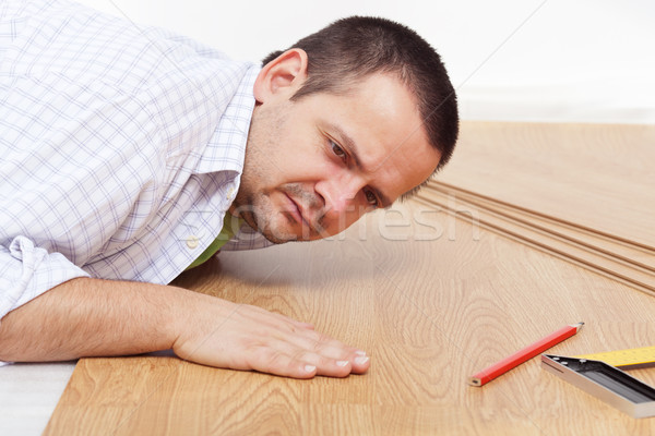 Laying laminate flooring at home Stock photo © lightkeeper