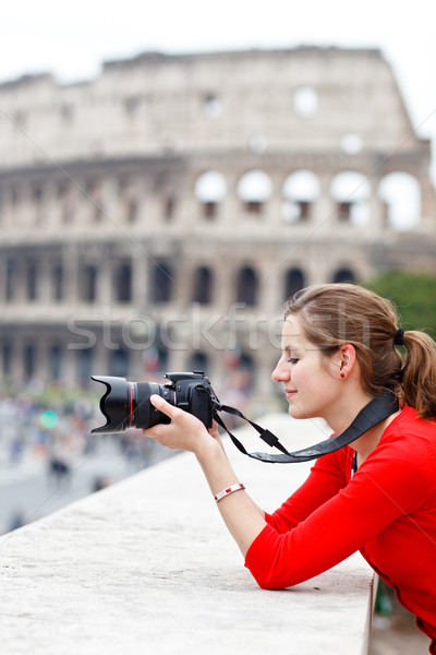 Portrait of a pretty young tourist sightseeing in Rome, Italy Stock photo © lightpoet