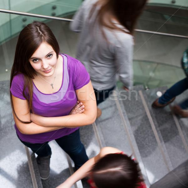 Zdjęcia stock: Studentów · w · górę · w · dół · zajęty · klatka · schodowa · dość