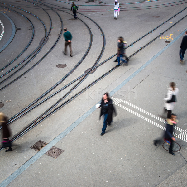 urban traffic concept - city street with a motion blurred crowd  Stock photo © lightpoet
