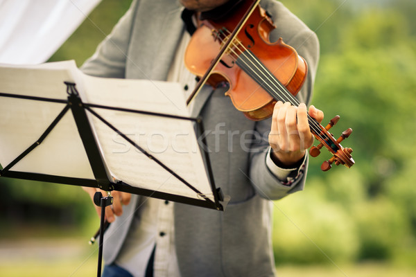 Male violinist playing his instrument and reading a music sheet  Stock photo © lightpoet