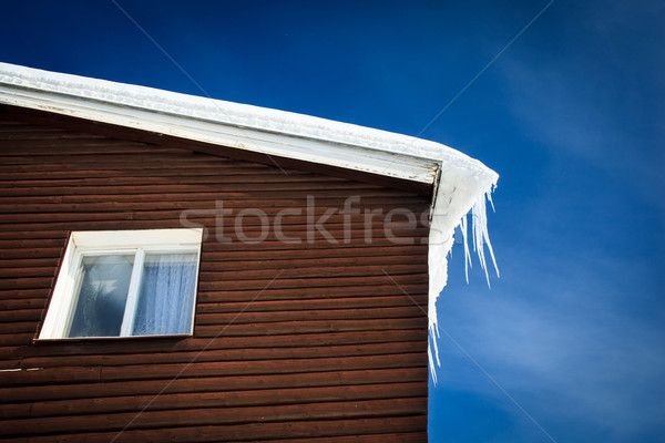 closeup of a wooden cottage roof covered with snow  Stock photo © lightpoet