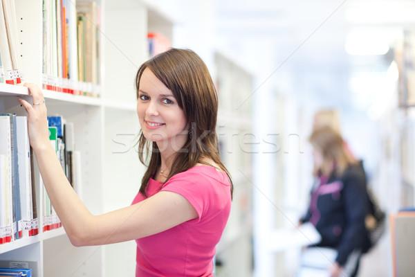 Photo stock: Joli · jeunes · Université · bibliothèque · peu · profond