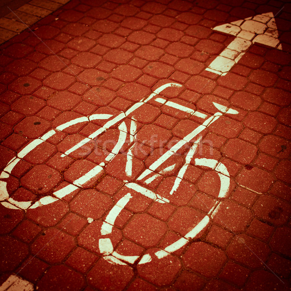 urban traffic concept - bike/cycling lane in a city  Stock photo © lightpoet