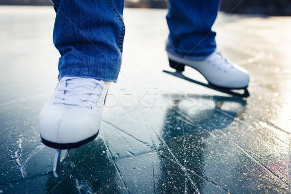 катание на коньках улице пруд красивой Сток-фото © lightpoet