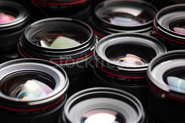 Modern kamera lensler yansımalar düşük anahtar Stok fotoğraf © lightpoet