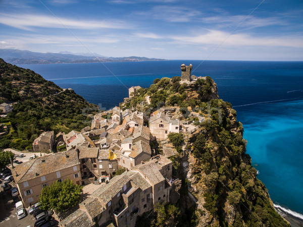Aerial view of the beautiful village of Nonza, in Cap Corse Stock photo © lightpoet