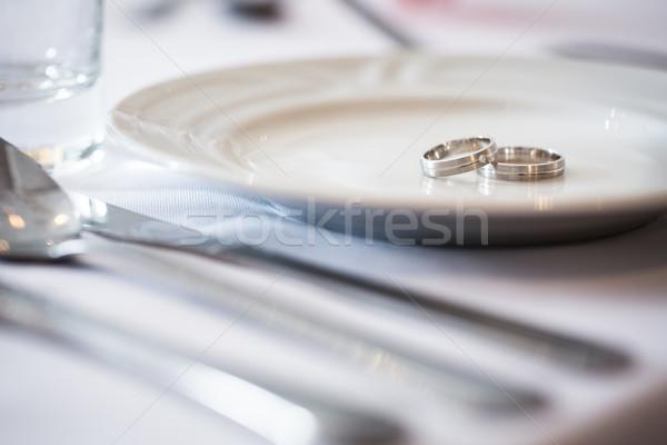 Two splendid wedding rings on a wedding day. Love concept. Stock photo © lightpoet