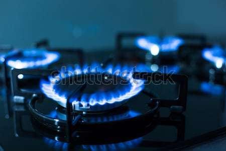 Vlammen gas kachel ondiep abstract Stockfoto © lightpoet