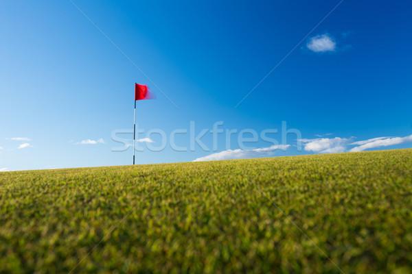 красный гольф флаг гольф движущихся ветер Сток-фото © lightpoet