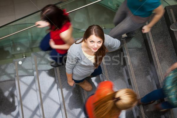 Stockfoto: Studenten · omhoog · beneden · drukke · mooie