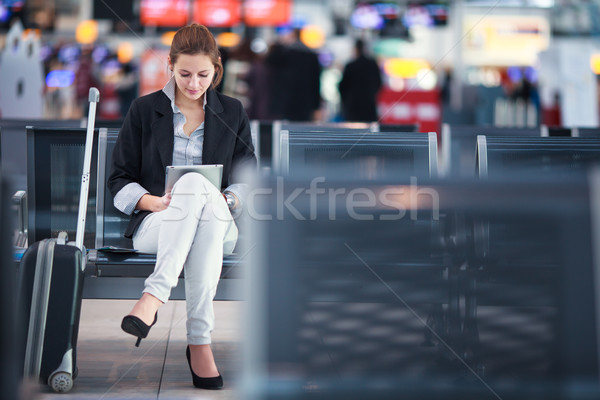 Young female passenger at the airport Stock photo © lightpoet