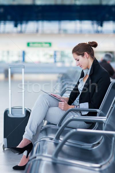 Stockfoto: Jonge · vrouwelijke · luchthaven · wachten · vlucht