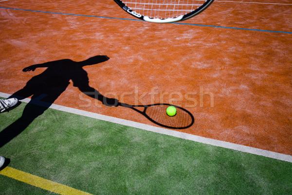 árnyék teniszező tevékenység teniszpálya kép teniszlabda Stock fotó © lightpoet