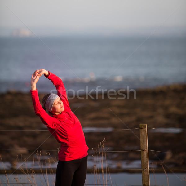 若い女性 ジョグ 女性 幸せ 森林 ストックフォト © lightpoet