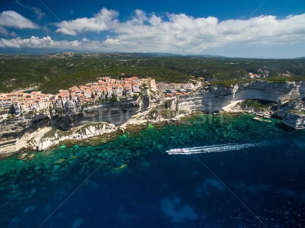 Stockfoto: Luchtfoto · oude · binnenstad · kalksteen · klif · zuiden · kust