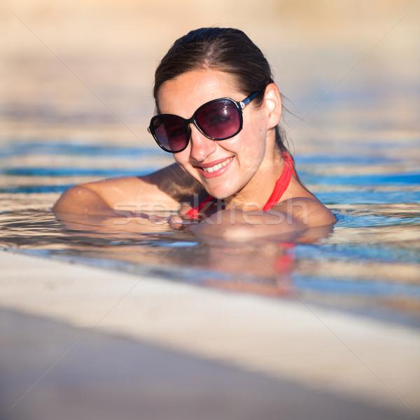 портрет расслабляющая Бассейн мелкий Сток-фото © lightpoet