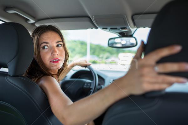 Genç kadın sürücü araba ev çalışmak eller Stok fotoğraf © lightpoet