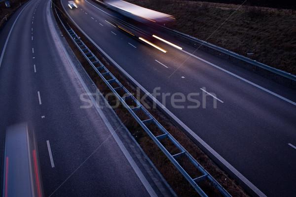 highway traffic - motion blurred truck on a highway/motorway/spe Stock photo © lightpoet