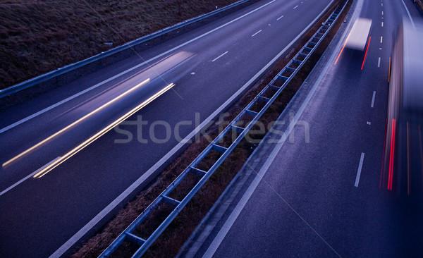 highway traffic - motion blurred truck on a highway Stock photo © lightpoet