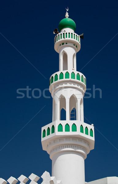 Stok fotoğraf: Beyaz · cami · minare · mavi · gökyüzü · Umman · güneş
