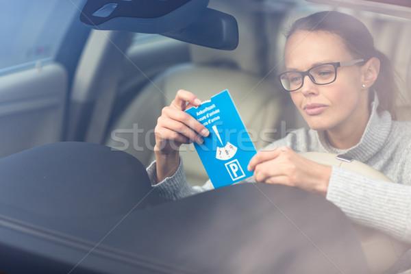 Stok fotoğraf: Güzel · genç · kadın · sürücü · zarif · yeni · araç · gerekli