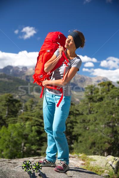 Pretty, female hiker in high mountains Stock photo © lightpoet