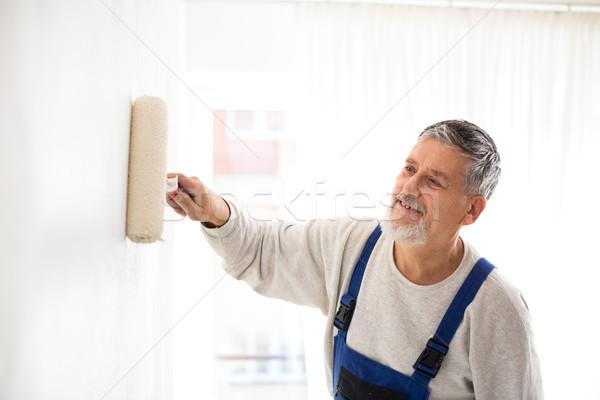 Senior Mann Malerei Wand home malen Stock foto © lightpoet