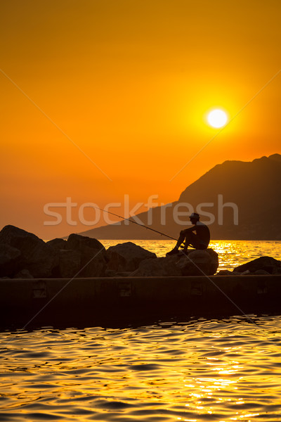 Fisherman silhouette at sunset (color toned image) Stock photo © lightpoet