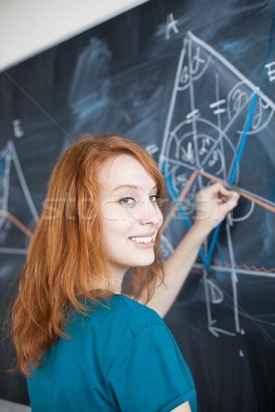 Portret dość młodych piśmie tablicy Zdjęcia stock © lightpoet