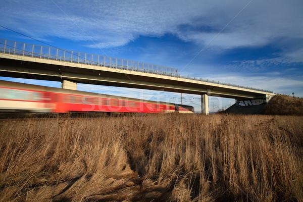 Veloce treno ponte estate giorno movimento Foto d'archivio © lightpoet