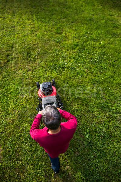 Stock fotó: Idős · férfi · gyep · kert · mosoly · fű