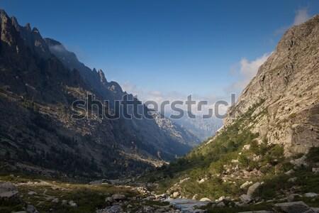 Alpine view of mountain tops in Restonica Valley Stock photo © lightpoet