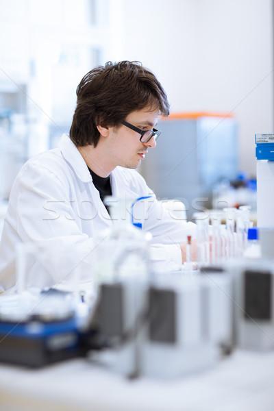 Stockfoto: Jonge · mannelijke · chemie · student · lab
