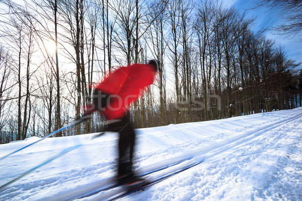 Cross-country skiing: young man cross-country skiing Stock photo © lightpoet
