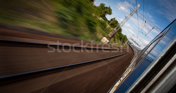 Stock photo: Railroad seen from a fast moving train.