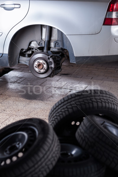 inside a garage - changing wheels/tires  Stock photo © lightpoet