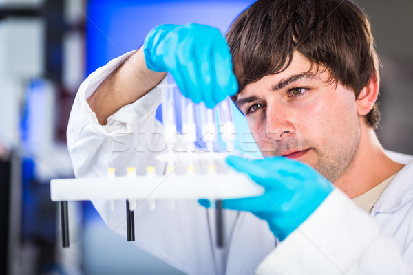 Young male researcher carrying out scientific research in a lab  Stock photo © lightpoet