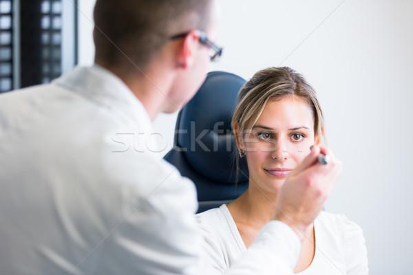 Güzel genç kadın gözler sığ Stok fotoğraf © lightpoet