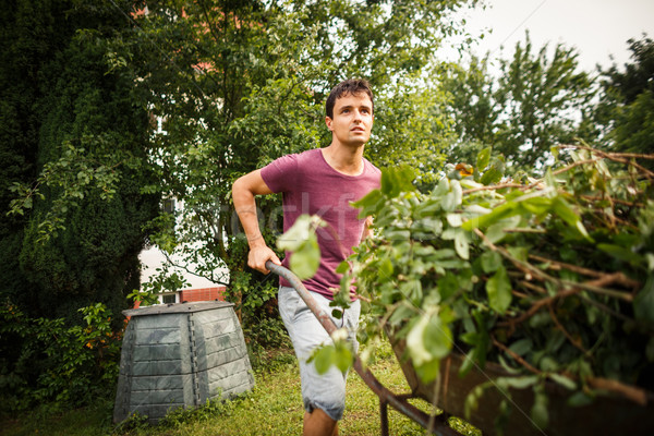 Handsome young man gardening in his garden Stock photo © lightpoet