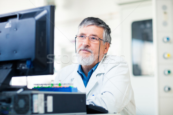 Senior researcher using a computer in the lab Stock photo © lightpoet