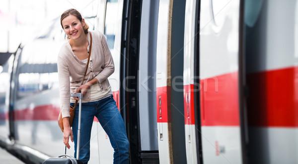 Сток-фото: довольно · посадка · поезд · город · городского